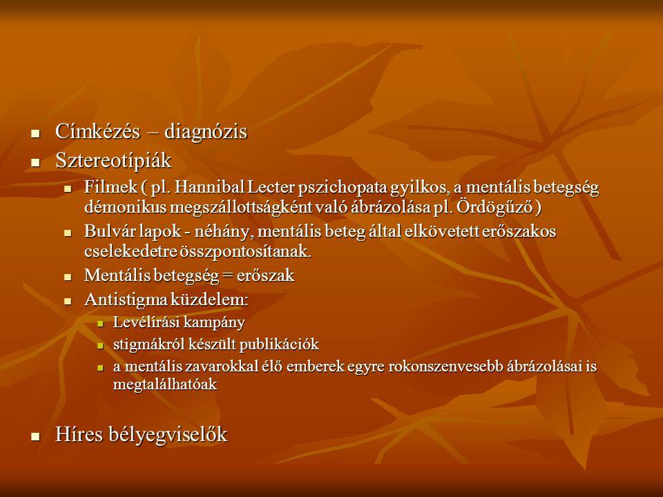 Címkézés – diagnózis Címkézés – diagnózis Sztereotípiák Sztereotípiák Filmek ( pl. Hannibal Lecter pszichopata gyilkos, a mentális betegség démonikus