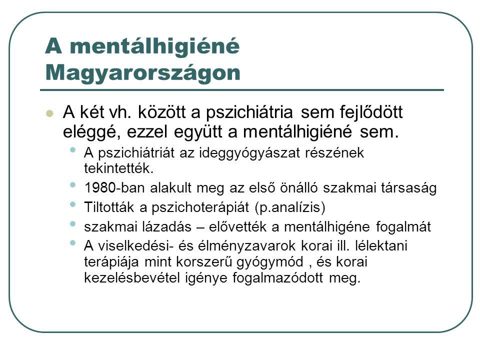 A mentálhigiéné Magyarországon A két vh.