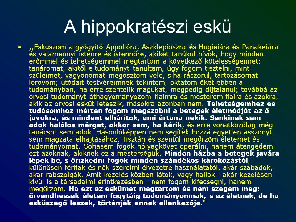 A hippokratészi eskü,,Esküszöm a gyógyító Appollóra, Aszklepioszra és Hügieiára és Panakeiára és valamennyi istenre és istennőre, akiket tanúkul hívok