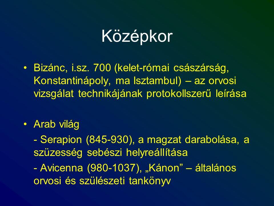 Középkor Bizánc, i.sz. 700 (kelet-római császárság, Konstantinápoly, ma Isztambul) – az orvosi vizsgálat technikájának protokollszerű leírása Arab vil