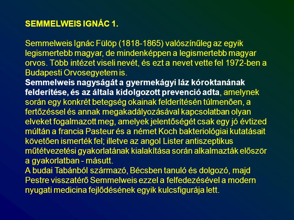 SEMMELWEIS IGNÁC 1. Semmelweis Ignác Fülöp (1818-1865) valószínűleg az egyik legismertebb magyar, de mindenképpen a legismertebb magyar orvos. Több in