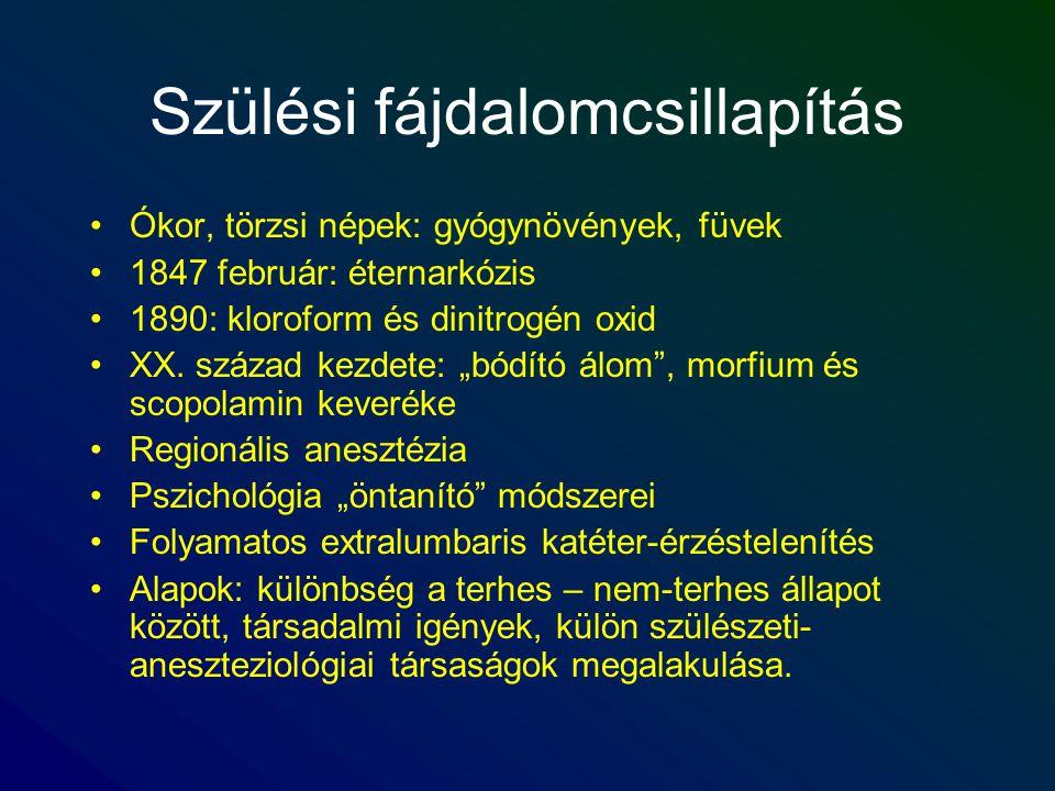 Szülési fájdalomcsillapítás Ókor, törzsi népek: gyógynövények, füvek 1847 február: éternarkózis 1890: kloroform és dinitrogén oxid XX. század kezdete: