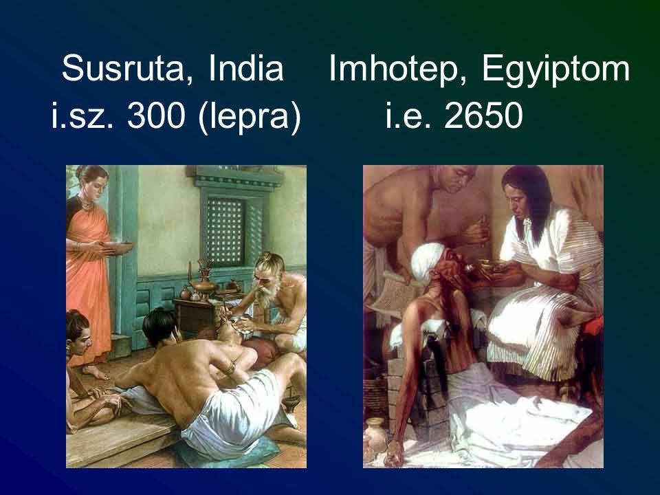 Susruta, India Imhotep, Egyiptom i.sz. 300 (lepra) i.e. 2650