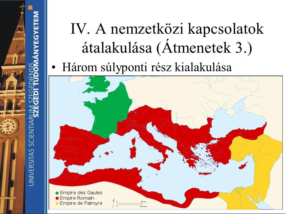 IV. A nemzetközi kapcsolatok átalakulása (Átmenetek 3.) Három súlyponti rész kialakulása