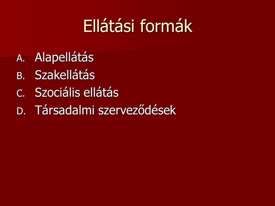 Ellátási formák A. Alapellátás B. Szakellátás C. Szociális ellátás D. Társadalmi szerveződések