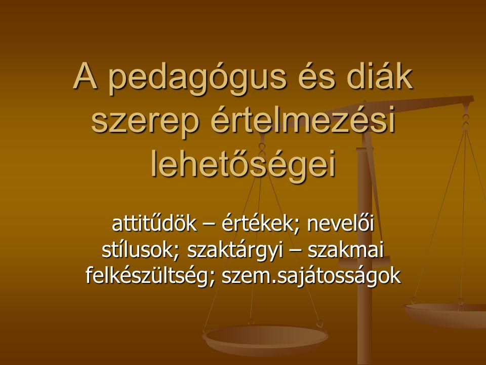 A pedagógus és diák szerep értelmezési lehetőségei attitűdök – értékek; nevelői stílusok; szaktárgyi – szakmai felkészültség; szem.sajátosságok