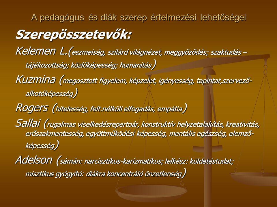A pedagógus és diák szerep értelmezési lehetőségei Szerepösszetevők: Kelemen L.( eszmeiség, szilárd világnézet, meggyőződés; szaktudás – tájékozottság