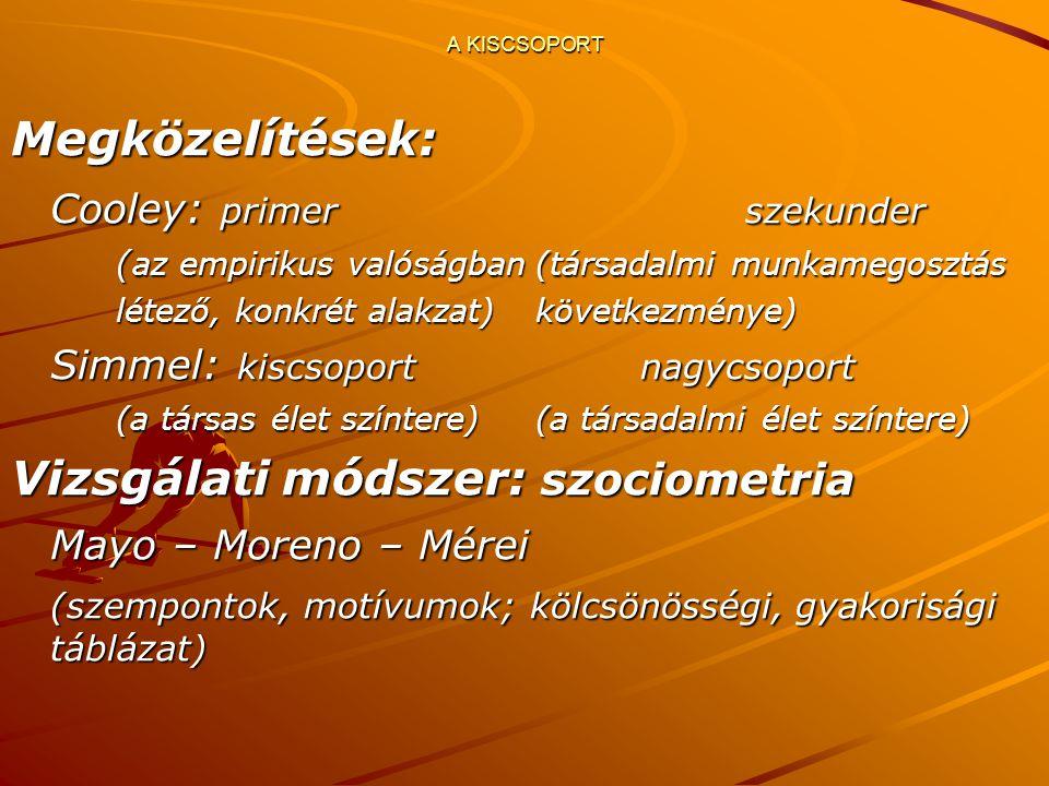 Megközelítések: Cooley: primerszekunder ( az empirikus valóságban(társadalmi munkamegosztás létező, konkrét alakzat)következménye) Simmel: kiscsoportnagycsoport (a társas élet színtere)(a társadalmi élet színtere) Vizsgálati módszer: szociometria Mayo – Moreno – Mérei (szempontok, motívumok; kölcsönösségi, gyakorisági táblázat)