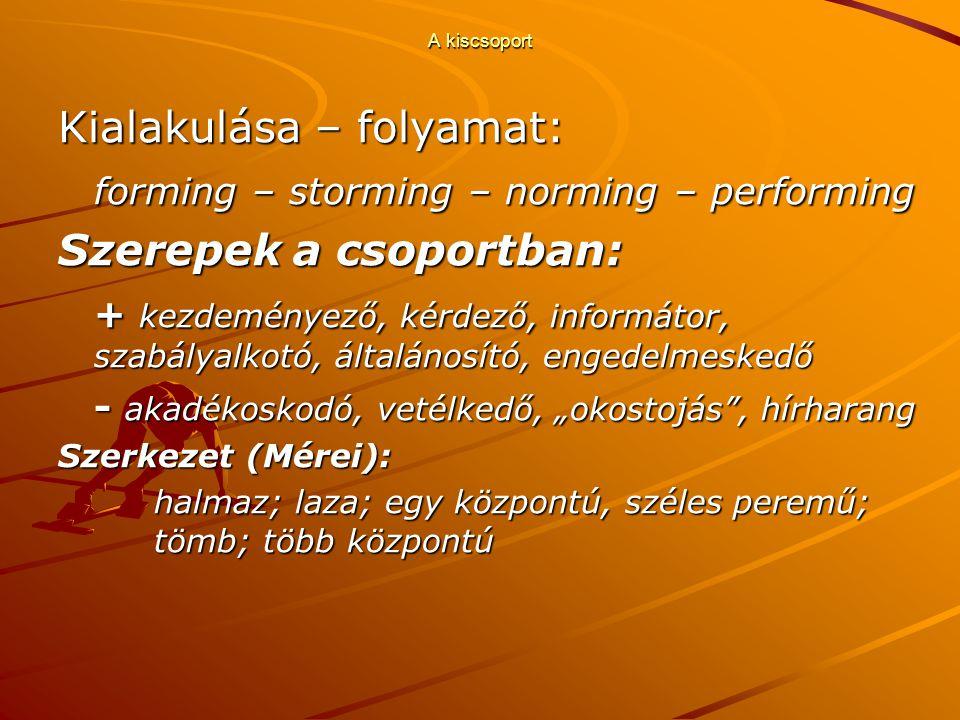 """A kiscsoport Kialakulása – folyamat: forming – storming – norming – performing Szerepek a csoportban: + kezdeményező, kérdező, informátor, szabályalkotó, általánosító, engedelmeskedő - akadékoskodó, vetélkedő, """"okostojás , hírharang Szerkezet (Mérei): halmaz; laza; egy központú, széles peremű; tömb; több központú"""