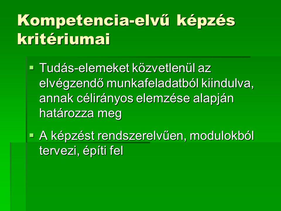 Kompetencia-elvű képzés kritériumai  Tudás-elemeket közvetlenül az elvégzendő munkafeladatból kiindulva, annak célirányos elemzése alapján határozza meg  A képzést rendszerelvűen, modulokból tervezi, építi fel