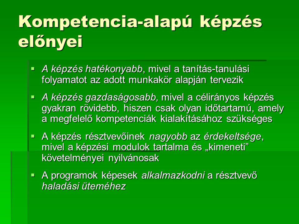 Kompetencia-alapú képzés előnyei  A képzés hatékonyabb, mivel a tanítás-tanulási folyamatot az adott munkakör alapján tervezik  A képzés gazdaságosa