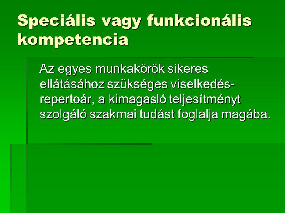 Speciális vagy funkcionális kompetencia Az egyes munkakörök sikeres ellátásához szükséges viselkedés- repertoár, a kimagasló teljesítményt szolgáló sz