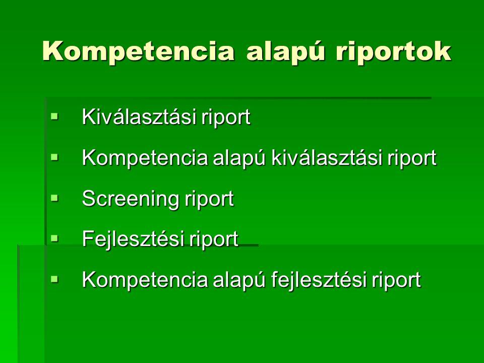 Kompetencia alapú riportok  Kiválasztási riport  Kompetencia alapú kiválasztási riport  Screening riport  Fejlesztési riport  Kompetencia alapú f