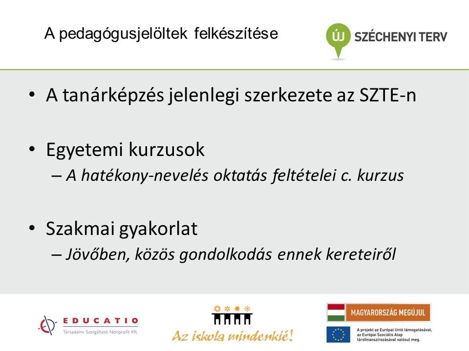 A pedagógusjelöltek felkészítése A tanárképzés jelenlegi szerkezete az SZTE-n Egyetemi kurzusok – A hatékony-nevelés oktatás feltételei c.