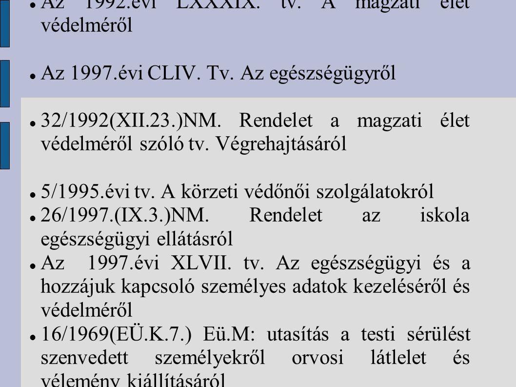 Az 1992.évi LXXXIX. tv. A magzati élet védelméről Az 1997.évi CLIV. Tv. Az egészségügyről 32/1992(XII.23.)NM. Rendelet a magzati élet védelméről szóló