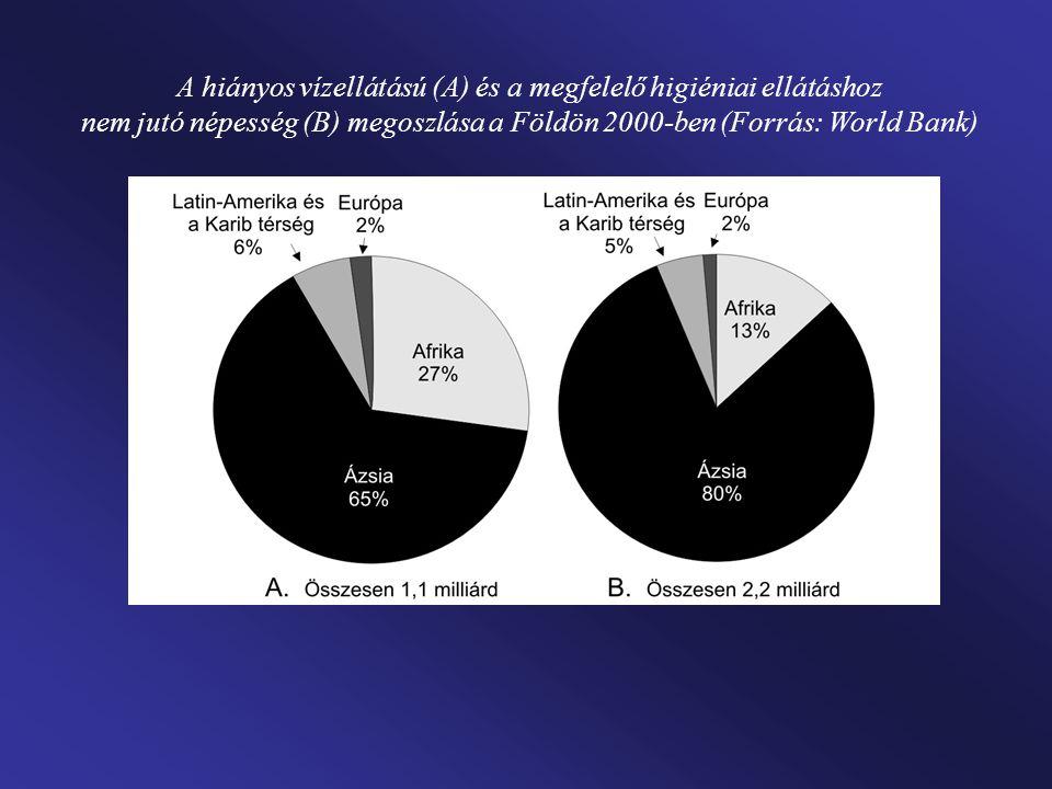 A hiányos vízellátású (A) és a megfelelő higiéniai ellátáshoz nem jutó népesség (B) megoszlása a Földön 2000-ben (Forrás: World Bank)