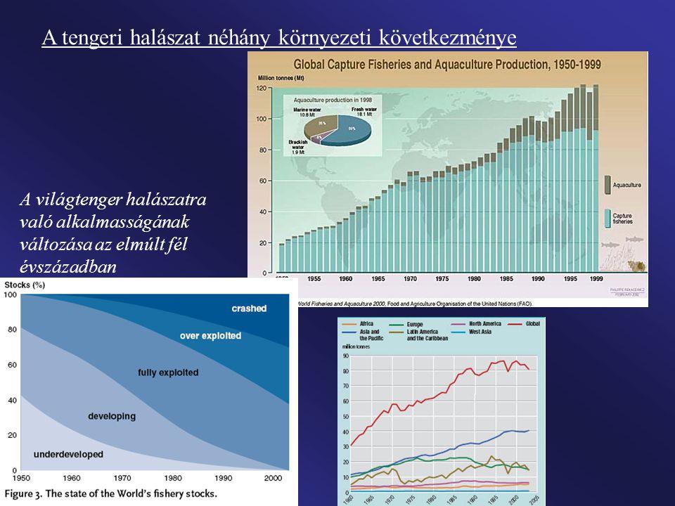 A halászati csúcsok ideje a főbb halászterületeken, illetve a csúcsmennyiséghez viszonyított visszaesés mértéke
