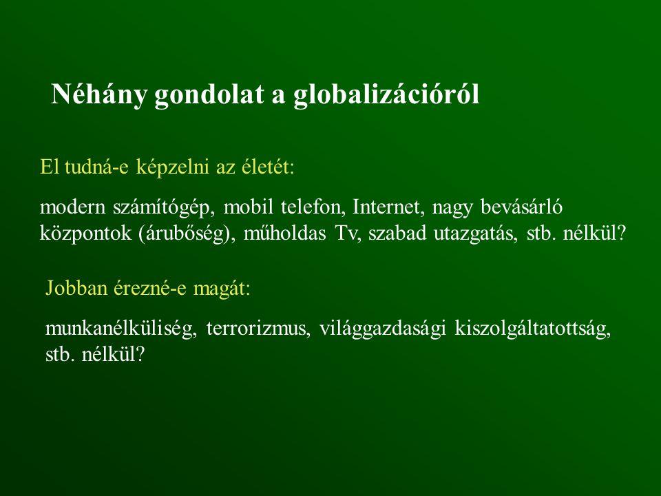 Néhány gondolat a globalizációról El tudná-e képzelni az életét: modern számítógép, mobil telefon, Internet, nagy bevásárló központok (árubőség), műho
