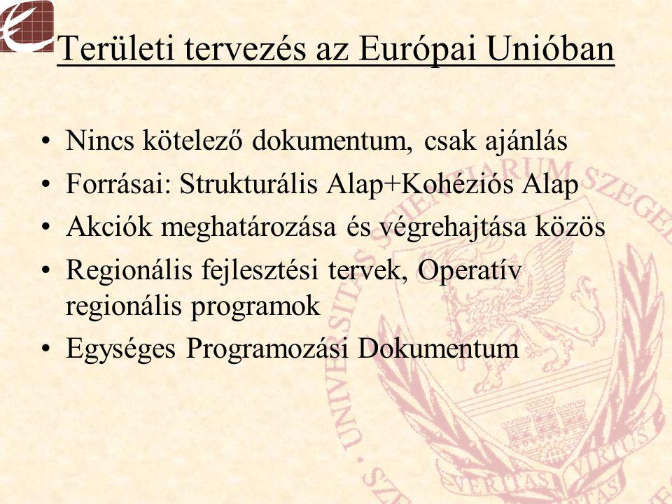 Területi tervezés az Európai Unióban Nincs kötelező dokumentum, csak ajánlás Forrásai: Strukturális Alap+Kohéziós Alap Akciók meghatározása és végreha
