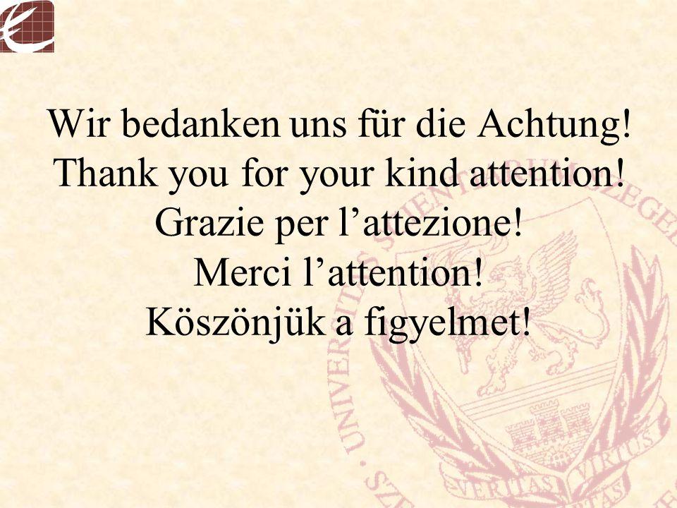 Wir bedanken uns für die Achtung! Thank you for your kind attention! Grazie per l'attezione! Merci l'attention! Köszönjük a figyelmet!