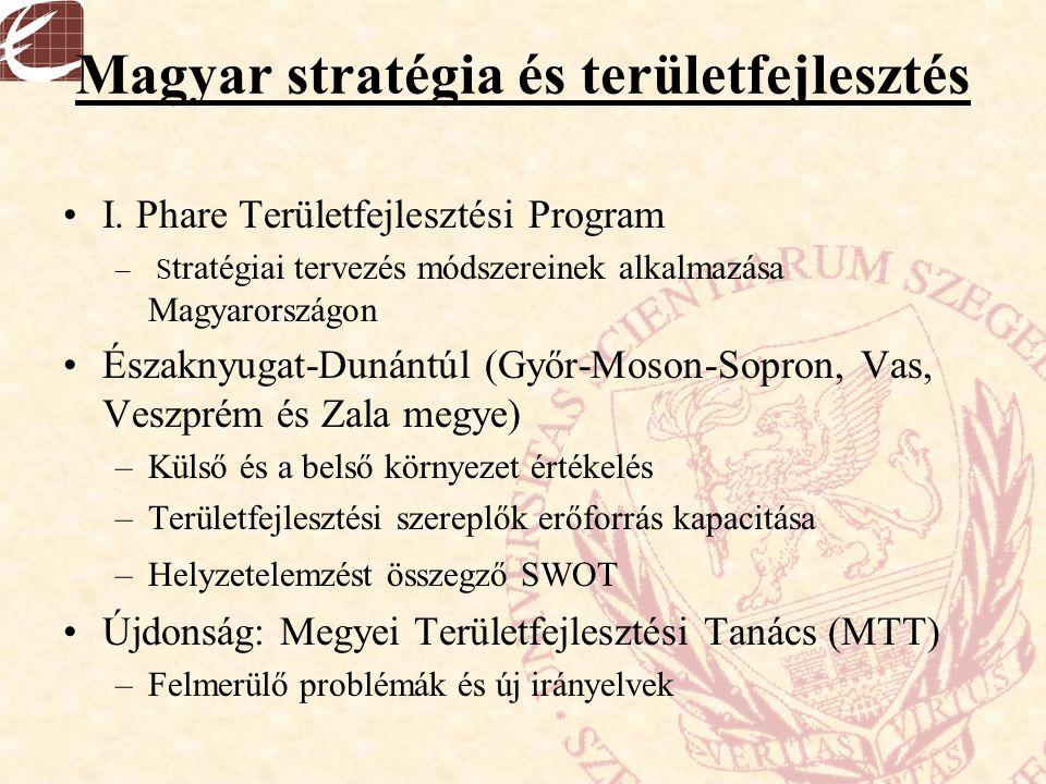 Magyar stratégia és területfejlesztés I. Phare Területfejlesztési Program – S tratégiai tervezés módszereinek alkalmazása Magyarországon Északnyugat-D