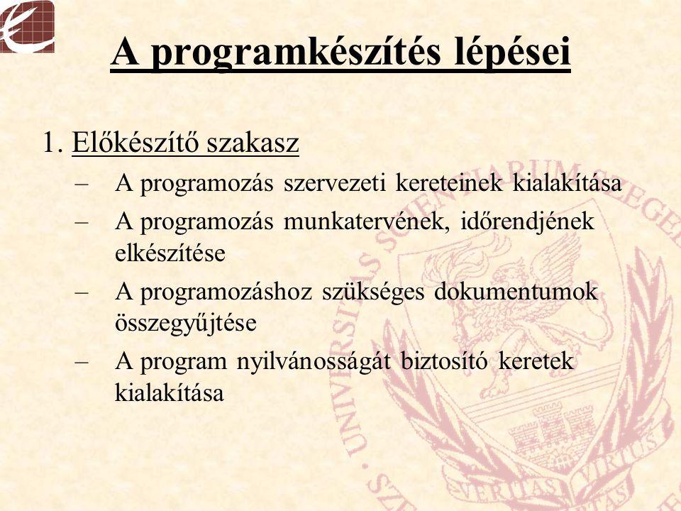 A programkészítés lépései 1. Előkészítő szakasz –A programozás szervezeti kereteinek kialakítása –A programozás munkatervének, időrendjének elkészítés