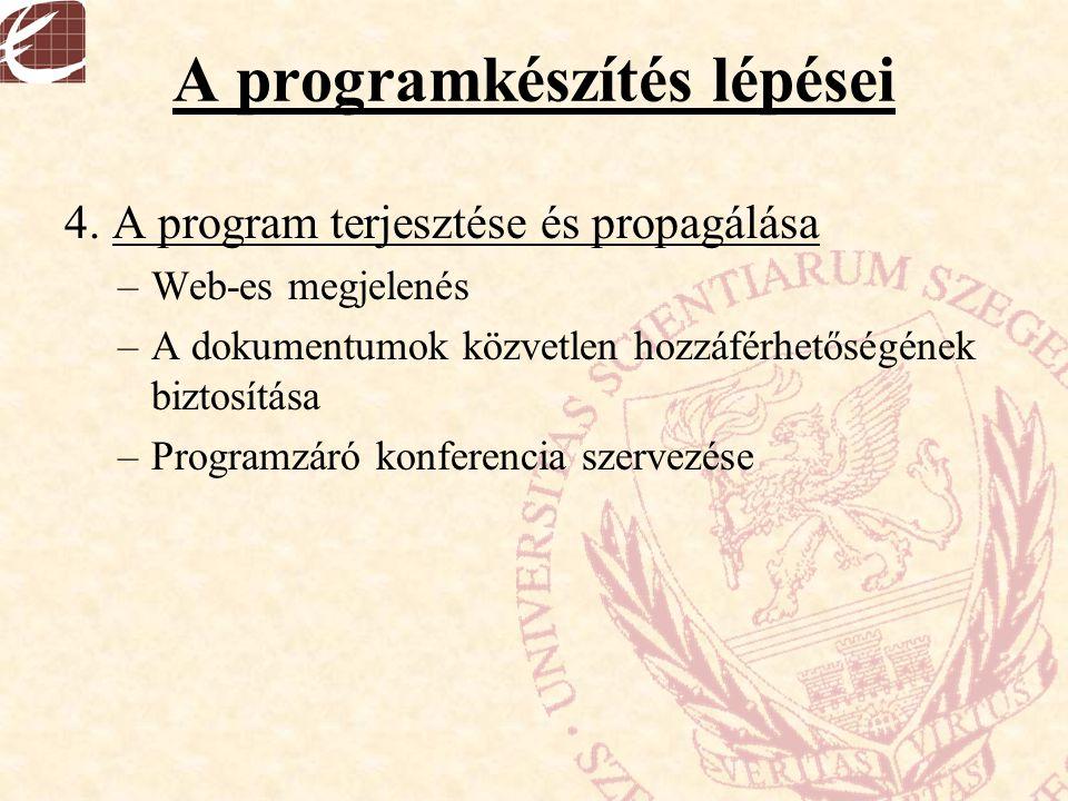 A programkészítés lépései 4. A program terjesztése és propagálása –Web-es megjelenés –A dokumentumok közvetlen hozzáférhetőségének biztosítása –Progra