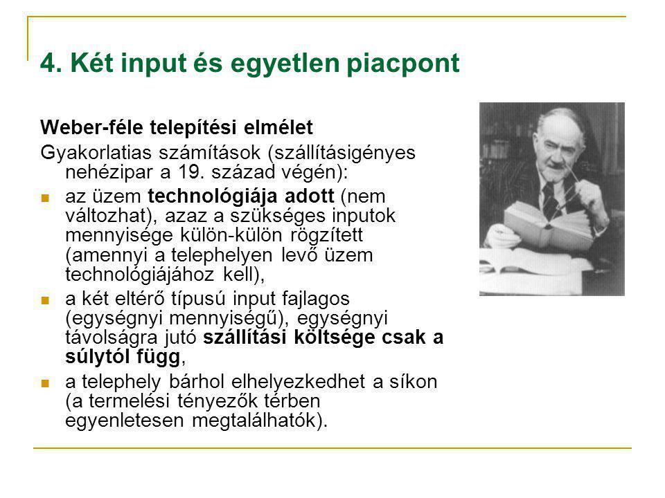 4. Két input és egyetlen piacpont Weber-féle telepítési elmélet Gyakorlatias számítások (szállításigényes nehézipar a 19. század végén): az üzem techn