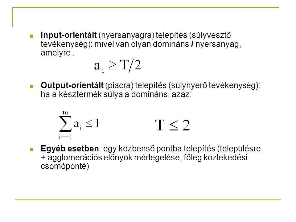 Input-orientált (nyersanyagra) telepítés (súlyvesztő tevékenység): mivel van olyan domináns i nyersanyag, amelyre.