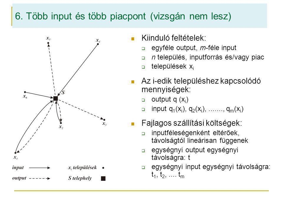 6. Több input és több piacpont (vizsgán nem lesz) Kiinduló feltételek:  egyféle output, m-féle input  n település, inputforrás és/vagy piac  telepü