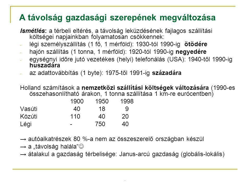 Távolság típusa és definíciójaMértékegységPéldák Földrajzi (fizikai) távolság: légvonalban mérve (euklideszi) Méter, kilomé- ter, mérföld Győr és Szeged távolsága légvonalban kb.