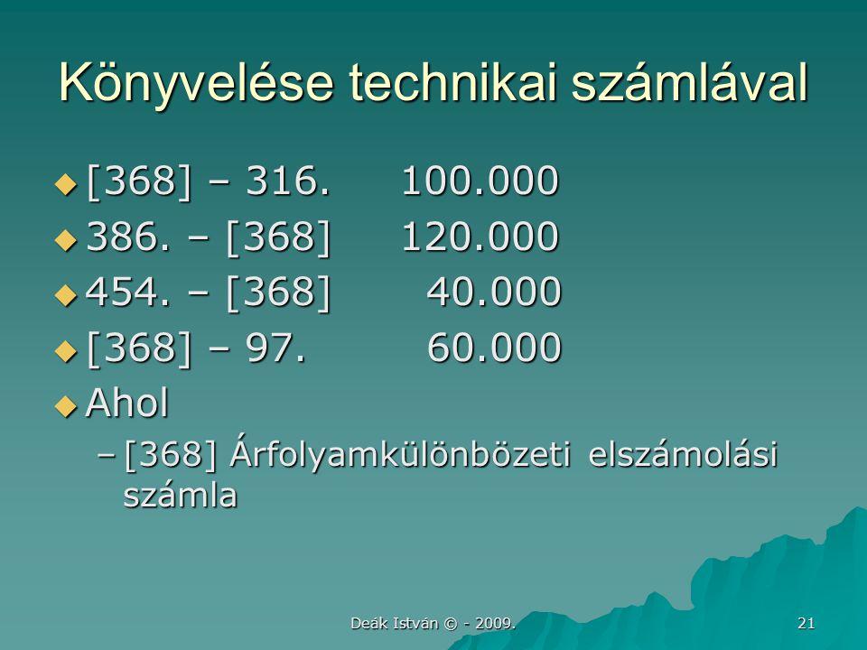 Deák István © - 2009.21 Könyvelése technikai számlával  [368] – 316.100.000  386.