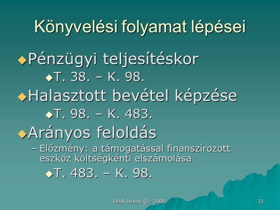 Deák István © - 2009.33 Könyvelési folyamat lépései  Pénzügyi teljesítéskor  T.