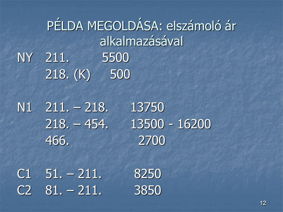 12 PÉLDA MEGOLDÁSA: elszámoló ár alkalmazásával NY211.5500 218. (K) 500 N1211. – 218.13750 218. – 454.13500 - 16200 466. 2700 C151. – 211. 8250 C281.
