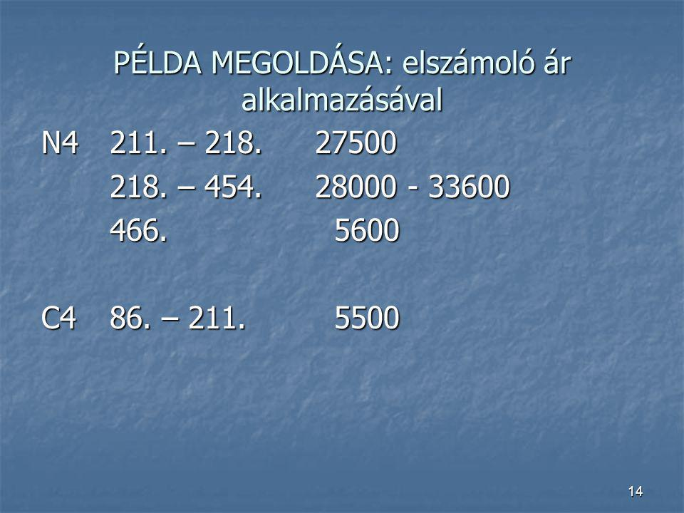 14 PÉLDA MEGOLDÁSA: elszámoló ár alkalmazásával N4211. – 218.27500 218. – 454.28000 - 33600 466. 5600 C486. – 211. 5500