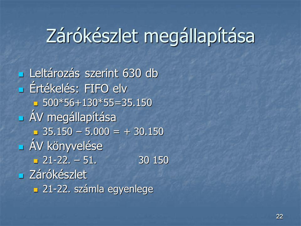 22 Zárókészlet megállapítása Leltározás szerint 630 db Leltározás szerint 630 db Értékelés: FIFO elv Értékelés: FIFO elv 500*56+130*55=35.150 500*56+1