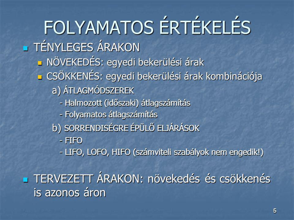 5 FOLYAMATOS ÉRTÉKELÉS TÉNYLEGES ÁRAKON TÉNYLEGES ÁRAKON NÖVEKEDÉS: egyedi bekerülési árak NÖVEKEDÉS: egyedi bekerülési árak CSÖKKENÉS: egyedi bekerül