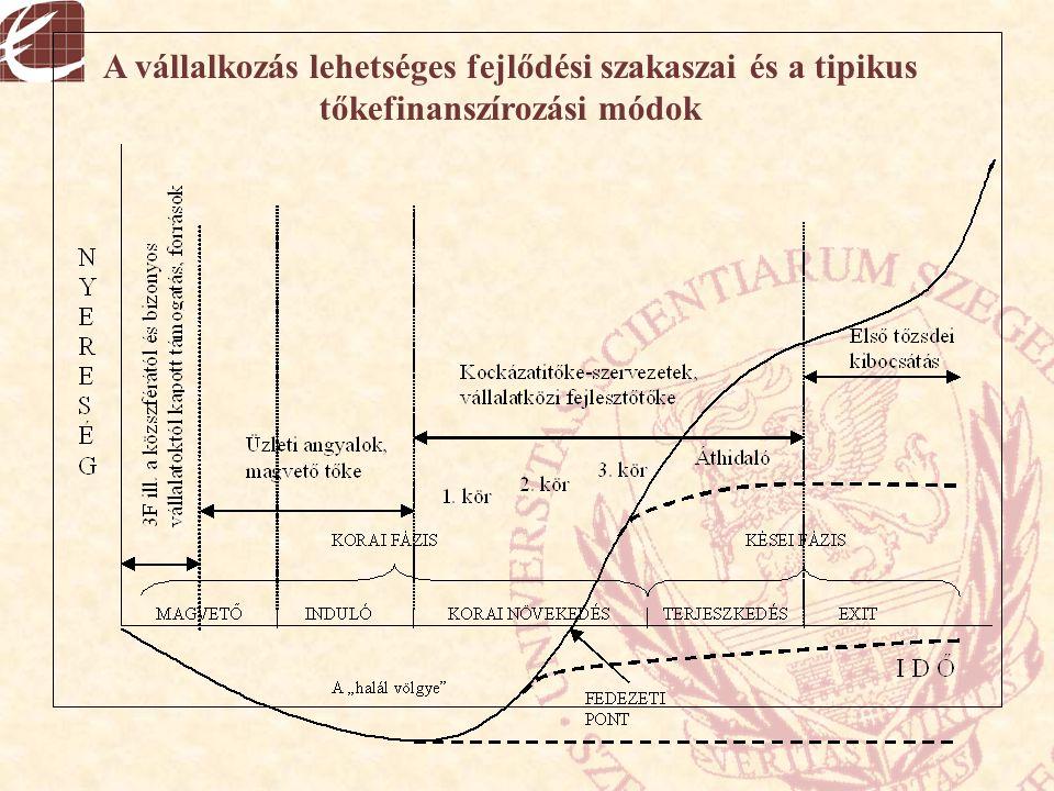 A vállalkozás lehetséges fejlődési szakaszai és a tipikus tőkefinanszírozási módok