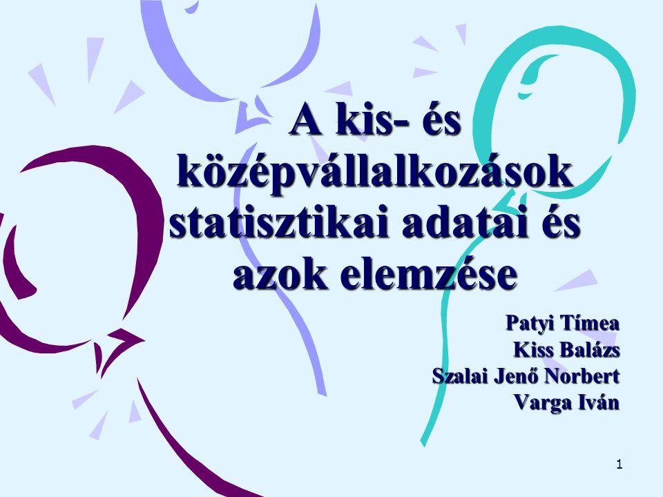 1 A kis- és középvállalkozások statisztikai adatai és azok elemzése Patyi Tímea Kiss Balázs Szalai Jenő Norbert Varga Iván