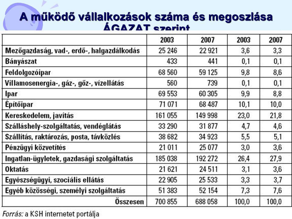 14 A működő vállalkozások száma és megoszlása ÁGAZAT szerint