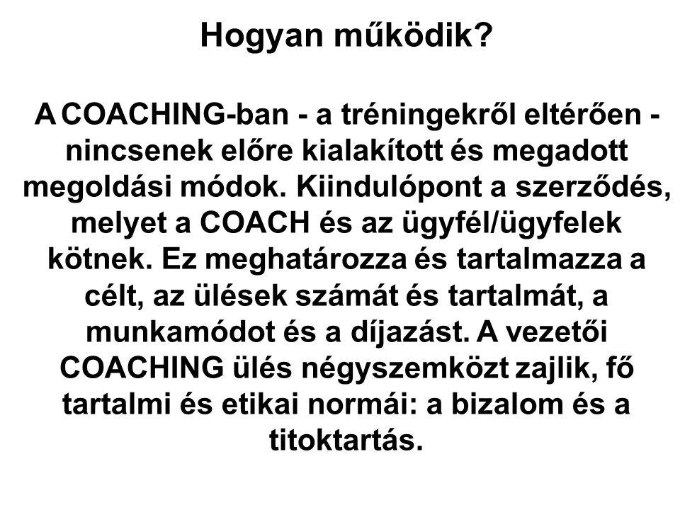 Hogyan működik? A COACHING-ban - a tréningekről eltérően - nincsenek előre kialakított és megadott megoldási módok. Kiindulópont a szerződés, melyet a