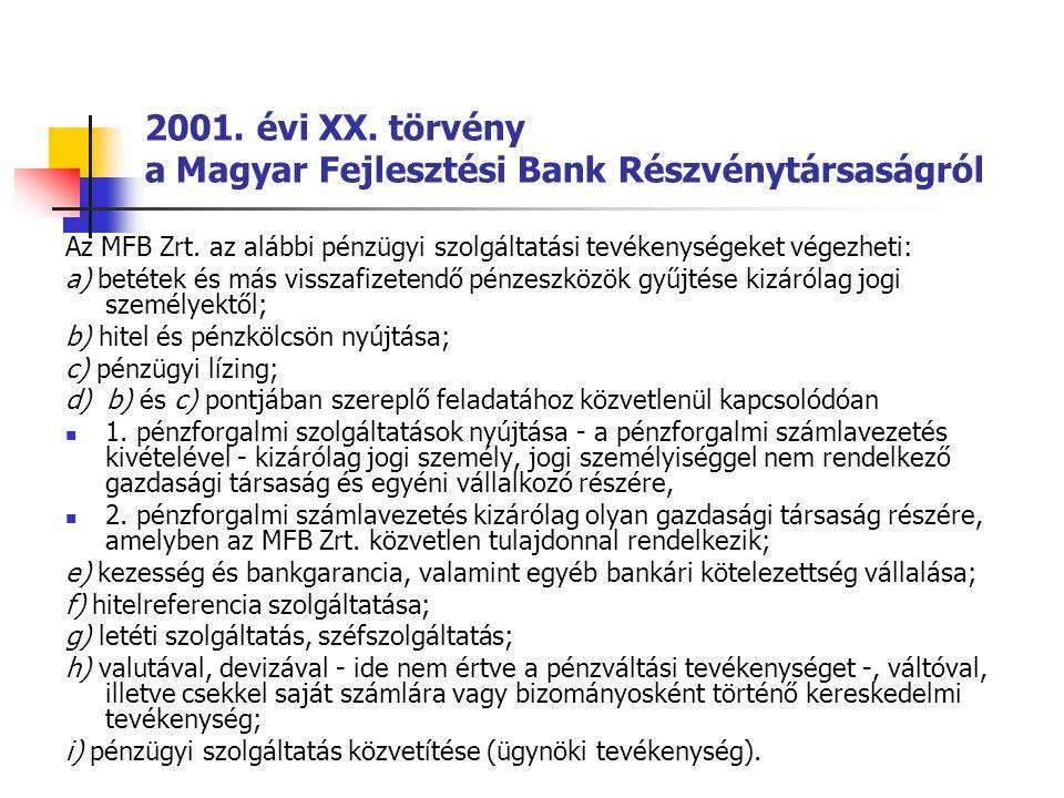 2001. évi XX. törvény a Magyar Fejlesztési Bank Részvénytársaságról Az MFB Zrt. az alábbi pénzügyi szolgáltatási tevékenységeket végezheti: a) betétek