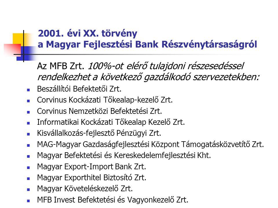 2001. évi XX. törvény a Magyar Fejlesztési Bank Részvénytársaságról Az MFB Zrt. 100%-ot elérő tulajdoni részesedéssel rendelkezhet a következő gazdálk