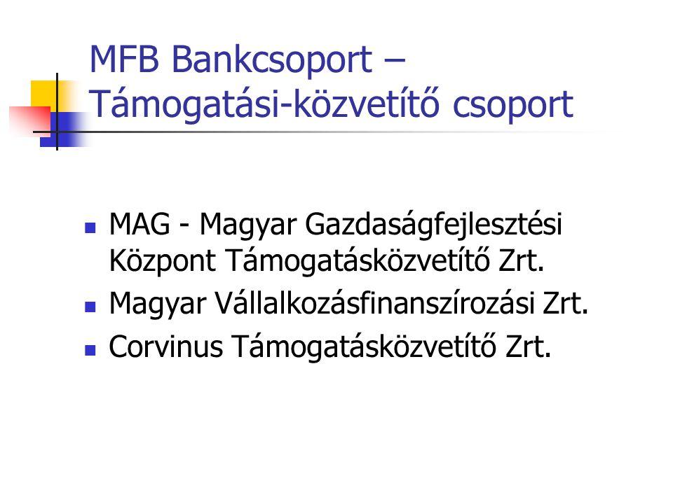 MFB Bankcsoport – Támogatási-közvetítő csoport MAG - Magyar Gazdaságfejlesztési Központ Támogatásközvetítő Zrt. Magyar Vállalkozásfinanszírozási Zrt.