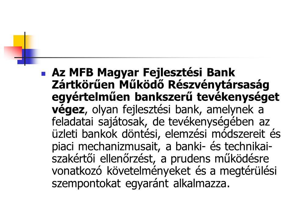 Az MFB Magyar Fejlesztési Bank Zártkörűen Működő Részvénytársaság egyértelműen bankszerű tevékenységet végez, olyan fejlesztési bank, amelynek a felad