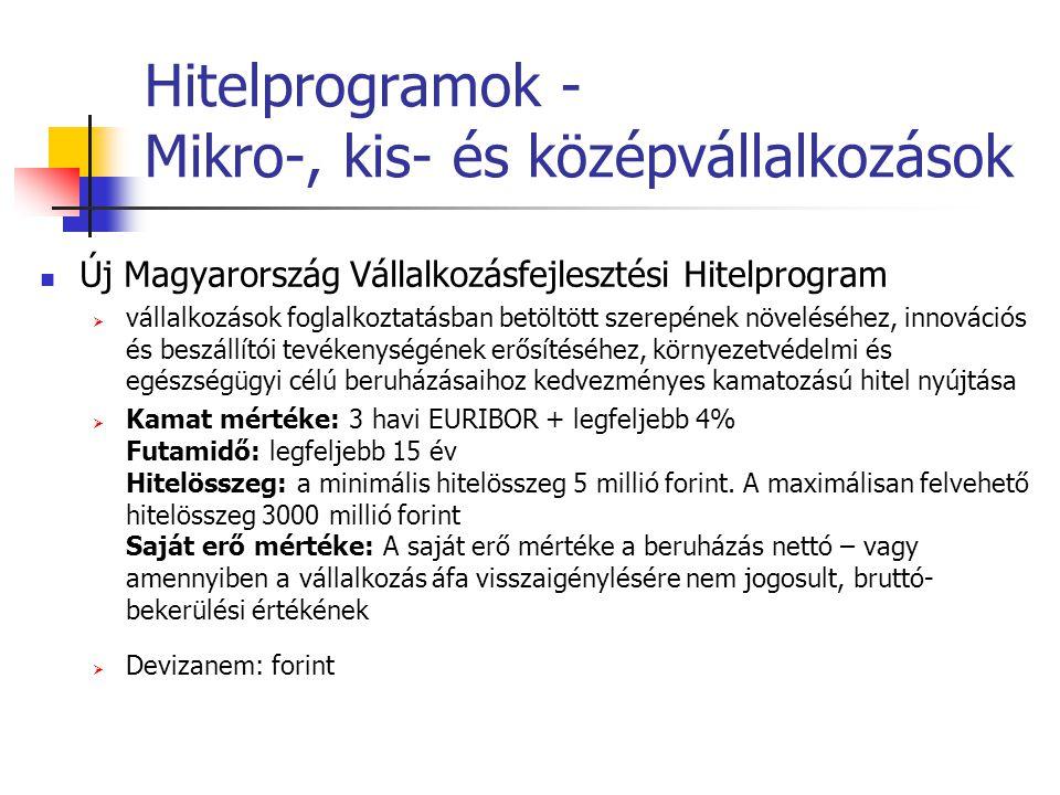 Hitelprogramok - Mikro-, kis- és középvállalkozások Új Magyarország Vállalkozásfejlesztési Hitelprogram  vállalkozások foglalkoztatásban betöltött sz