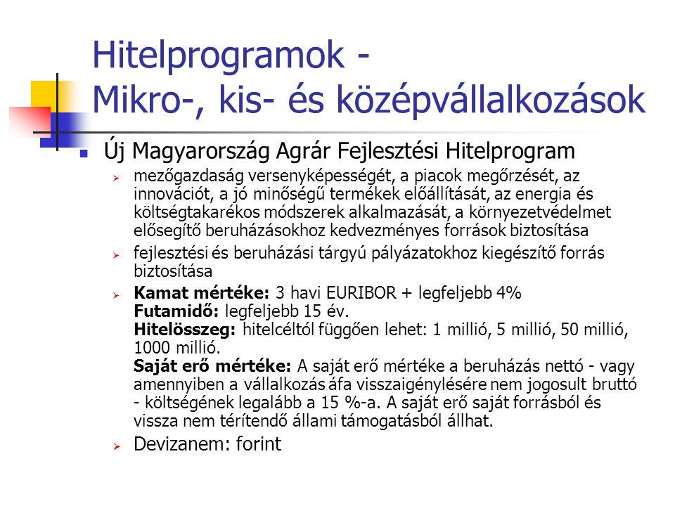 Hitelprogramok - Mikro-, kis- és középvállalkozások Új Magyarország Agrár Fejlesztési Hitelprogram  mezőgazdaság versenyképességét, a piacok megőrzés