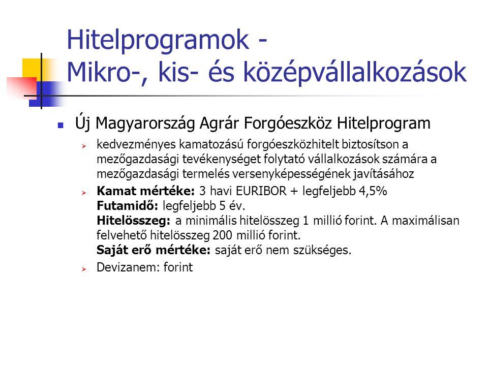 Hitelprogramok - Mikro-, kis- és középvállalkozások Új Magyarország Agrár Forgóeszköz Hitelprogram  kedvezményes kamatozású forgóeszközhitelt biztosí