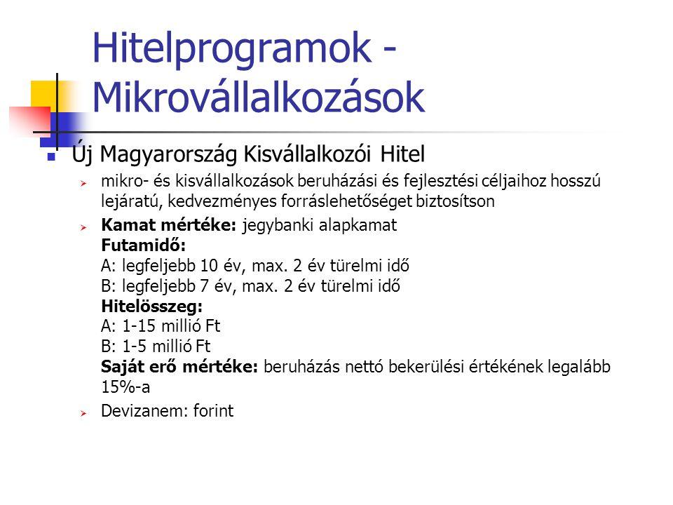Hitelprogramok - Mikrovállalkozások Új Magyarország Kisvállalkozói Hitel  mikro- és kisvállalkozások beruházási és fejlesztési céljaihoz hosszú lejár