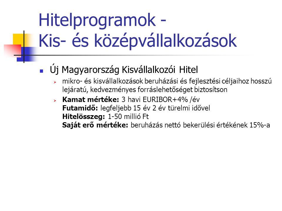 Hitelprogramok - Kis- és középvállalkozások Új Magyarország Kisvállalkozói Hitel  mikro- és kisvállalkozások beruházási és fejlesztési céljaihoz hoss